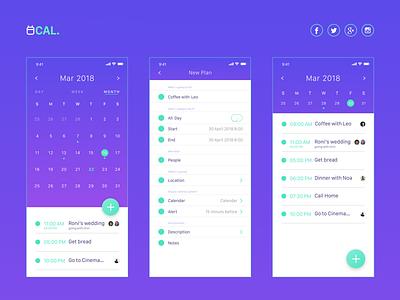 Cal app iphone x screens ux ui time schedule mobile ios interface clean calendar