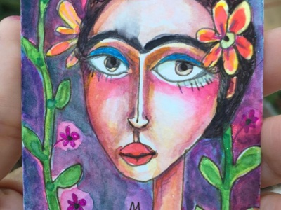 Frida Loves Plants floral aceo fridakahlo watercolor girl painting portrait woman illustration meloearth