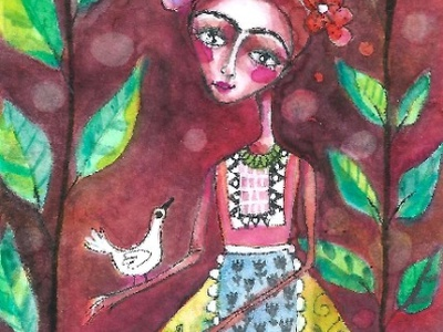 Frida Kahlo and Pet Bird whimsical watercolor handpainted design floral fridakahlo painting aceo illustration meloearth
