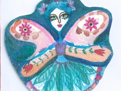 Ballerina in Blue illustration woman artwork fantasy fairy girl painting meloearth