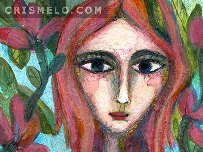 Heartful Woman aceo painting illustration art heart