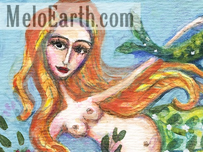 New art beach woman fish mermaid meloearth