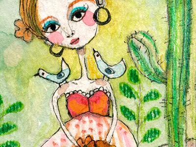 Love Your Life birds woman meloearth illustration