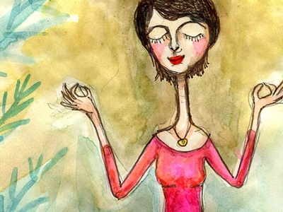Be Creative meditation girl watercolor painting illustration woman meloearth
