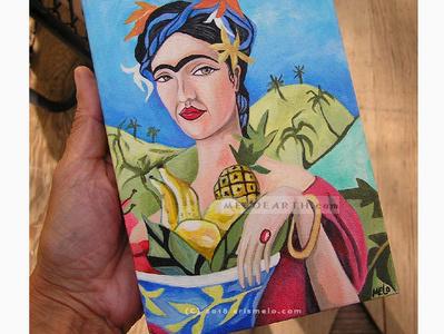 Fridalicious canvas illustration woman portrait illustration portrait frida kahlo meloearth