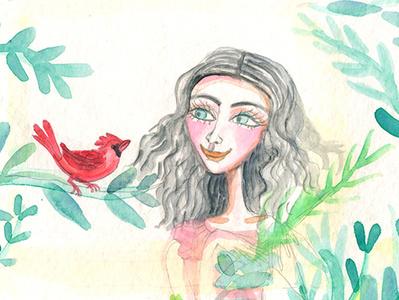 Cardinal - work in progress birds illustration art