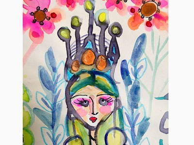 Girl Princess Crown Dressa thequietartist watercolors illustration artwork