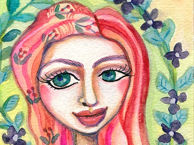 Redhair Girl garden painting woman illustration
