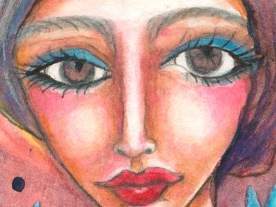 Frida Blue Tulips portrait frida kahlo fridakahlo meloearth artist handpainted artwork illustration