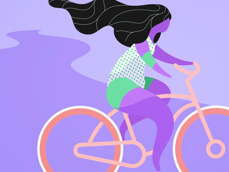 Friday Biker Lady biker bike summer illustration