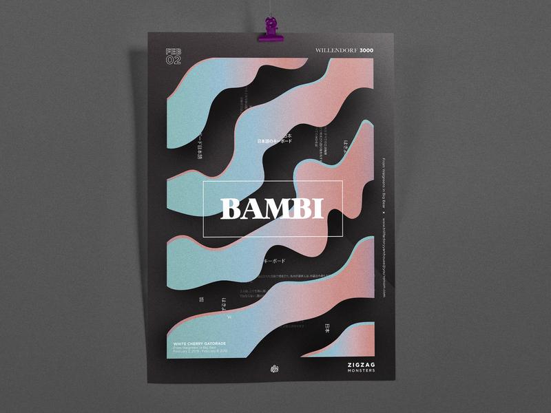 Bambi Poster branding vector ad promo 3d art type print layout illustration typography graphic art design