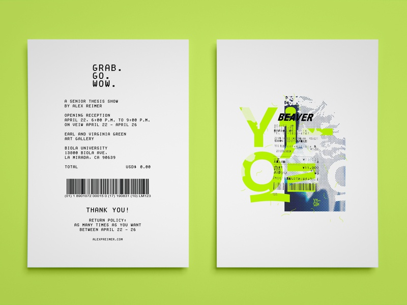 Senior Thesis Show Card ad flyer vector promo type print illustration layout typography graphic art design