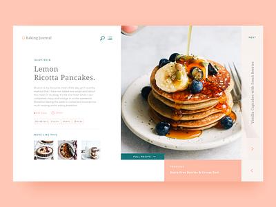 Baking Journal | Blog website clean layout pancakes baking recipes food blog design web interface ui