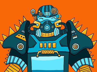 Power Armor videogame powerarmor falllout procreate illustration robot suite cute