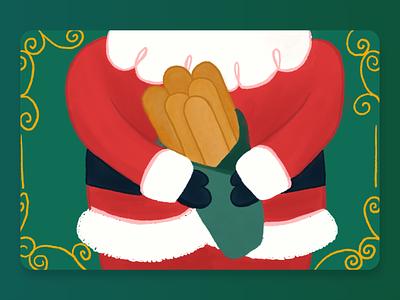 Santa Breadsticks cute illustration holiday food breadstick christmas giftcard