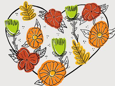 Spring Love outline heart spring flower