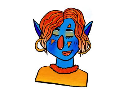 Blue Elf illustraion elf procreate