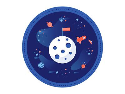 #1 Vistor planet button badge space moon
