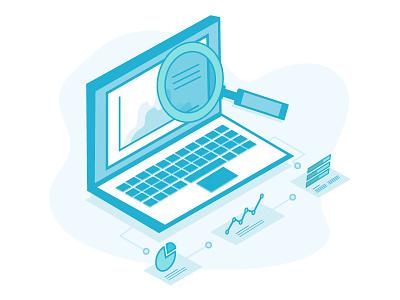 informatics vs analytics icons laptop graphs computer