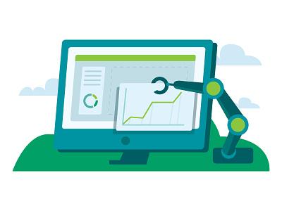 Analytics building graphs computer marketing