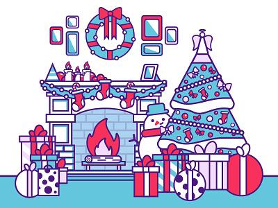 Merry Christmas presents fireplace snowman tree christmas