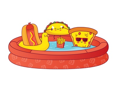 Lunchpool food summer sticker floaty lunchpool summertime cute pizza fries taco hotdog party pool lunch