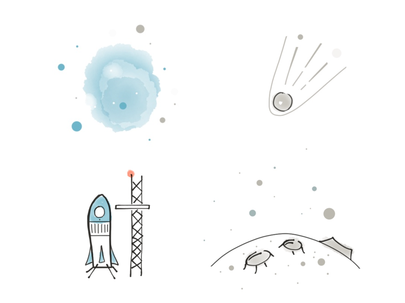 Launch it! drawing sketch watercolor space rocket paper moon icons