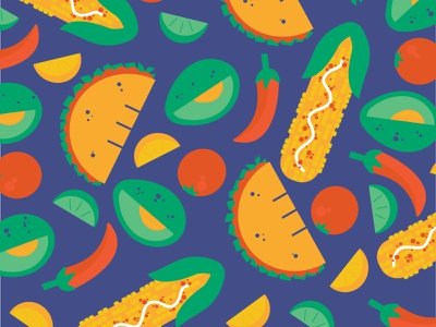taco tuesday spicy limes corn collage food hispanic illustration tacos