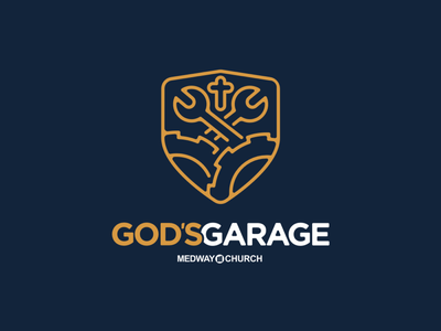 God's Garage branding illustration design shield tools cross wrench blue yellow auto garage line art church christ logo faith