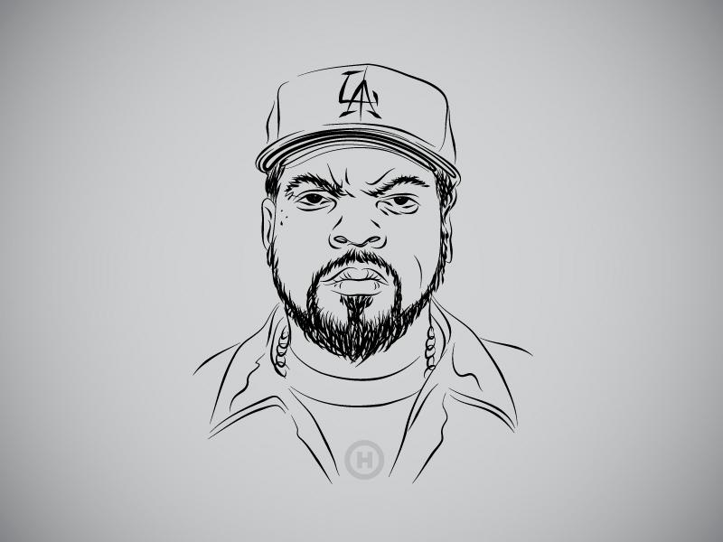 Hiphop Strokes - Ice Cube hidekiaono gangsta actor rapper illustration portrait nwa la icecube vector strokes hiphop