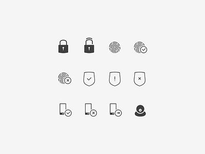 Security icon set icons icon security lock unlock fingerprint shield phone camera