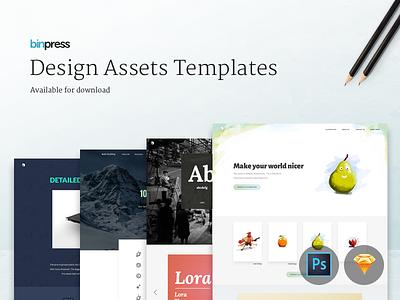 Design assets templates for download icons illustration fonts download psd sketch design web template freebie