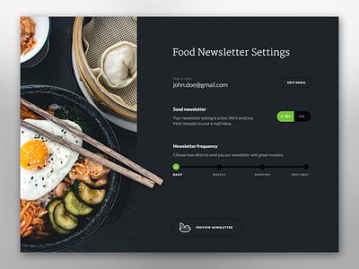 Food Newsletter dark ux ui settings newsletter food