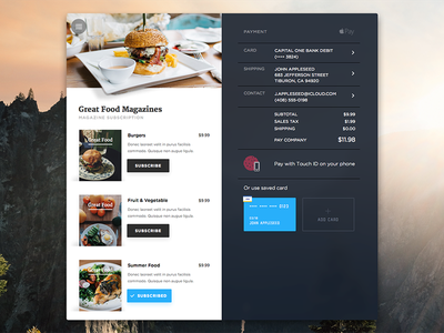 Food Magazine Subscription order card payment applepay ux ui magazine subscription settings food