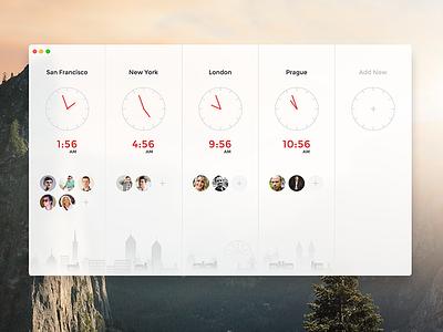 Social Time App clocks prague london york new francisco san social time