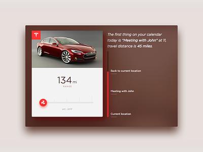 Tesla Calendar Integration car range chart ux ui calendar tesla