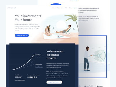 Your investments, your future, simplewealth.ch web landing illustration switzerland swiss fintech finance wealth simplewealth
