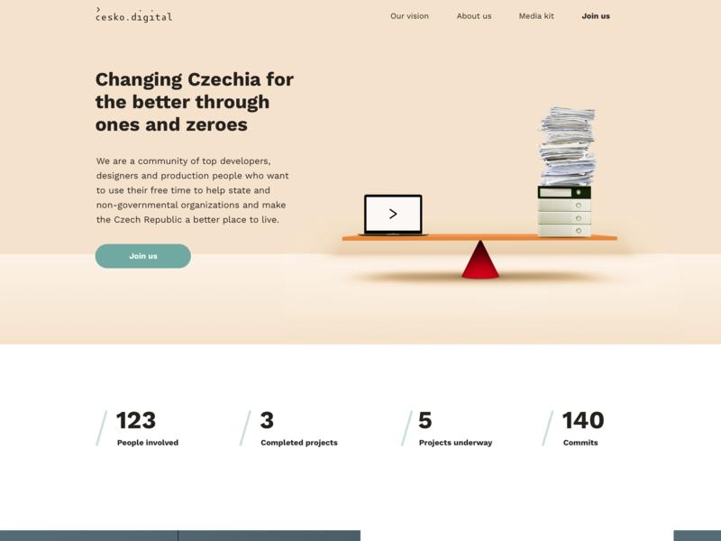 cesko.digital ui illustration simple web