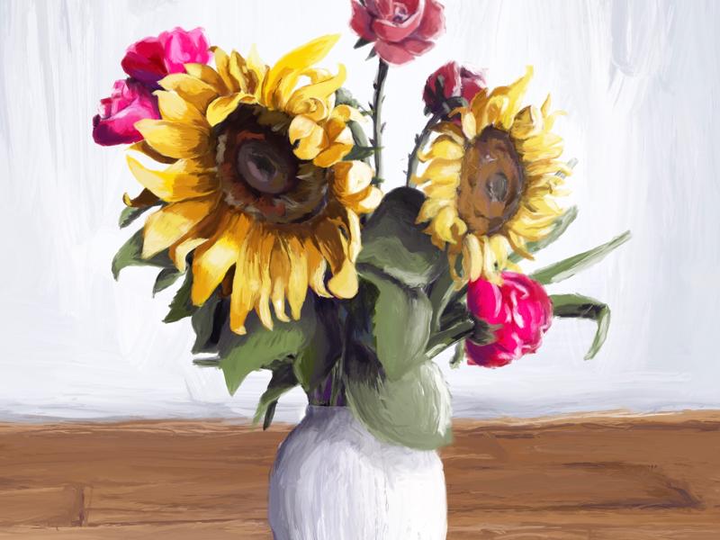 Digital painting procreate procreateapp sunflowers painting illustration illustration painting sunflowers