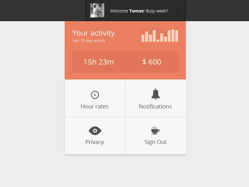 Stillinwork Menu menu flat ui interface chart activity ux gui time money