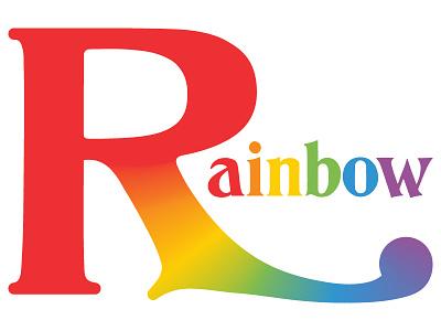 Rainbow r typography rainbow color