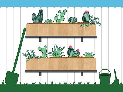 Lets Plant backyard illustration greenery cactus wood grain garden plants succulents