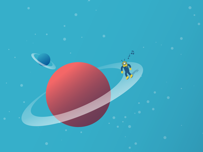 Celestial Bodies outspace rings skating planet space