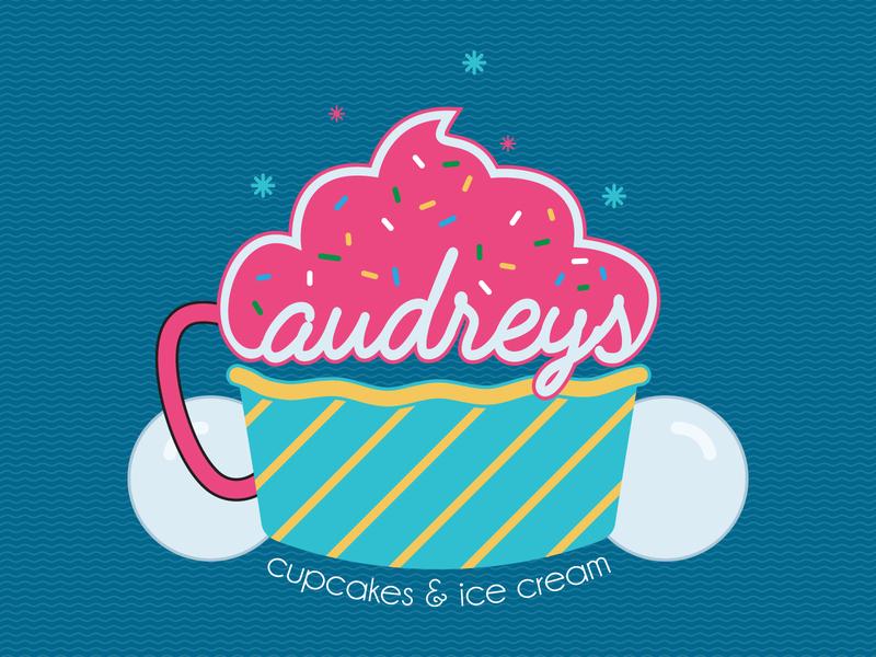 Audreys Logo sprinkles dessert adobe icecream cupcakes design illustrator illustration graphic design logo design branding logo