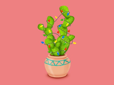 Christmas Cactus vector illustrator graphicdesign illustration twinkle pot pottery southwest christmas lights lights christmas cactus cacti cactus merry merry christmas