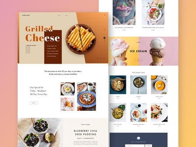 Foody Corner Landing Page home page cooking cook foodservice ecommerce recipes restourant hotel banner web design website ui design pakistan colors user interface design hero theme template landing page food