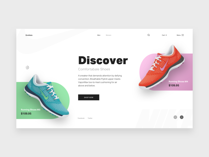Shomate ui design online shop ecommerce store design pakistan minimal design clean design typography color template theme nike shoes web design website banner hero home page landing pages