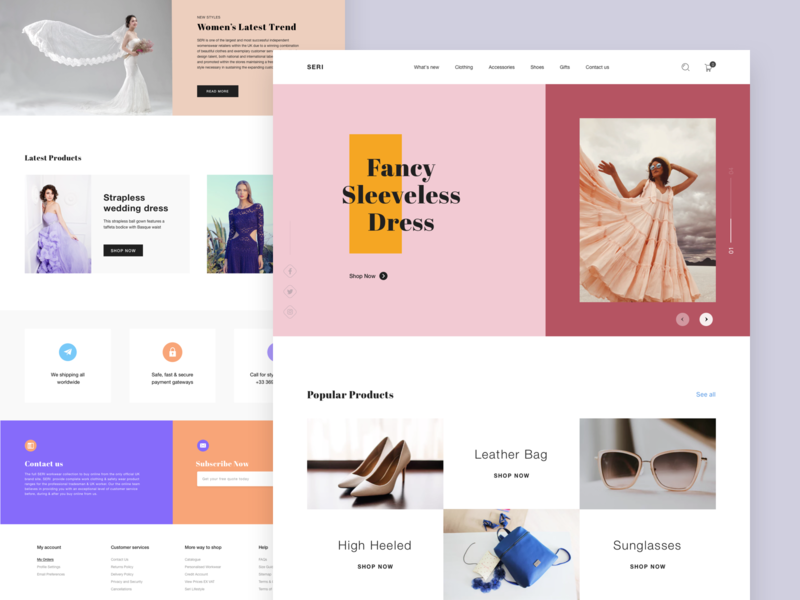 Seri Landing Page modeling pakistan designer design color style clothing 2019 trend minimal design clean design uiux shopping ecommerce fashion web design template theme website home page landing page