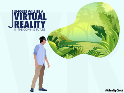 Future future jungle illustration leaf virtual reality tree wallpaper poster flat vector design illustrator creative cover art adobe