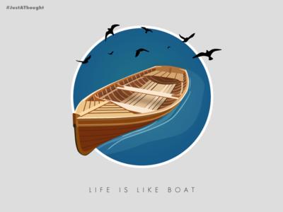 Boat blue bird branding art poster sea boat flat creative design colour scheme adobe vector illustrator illustration